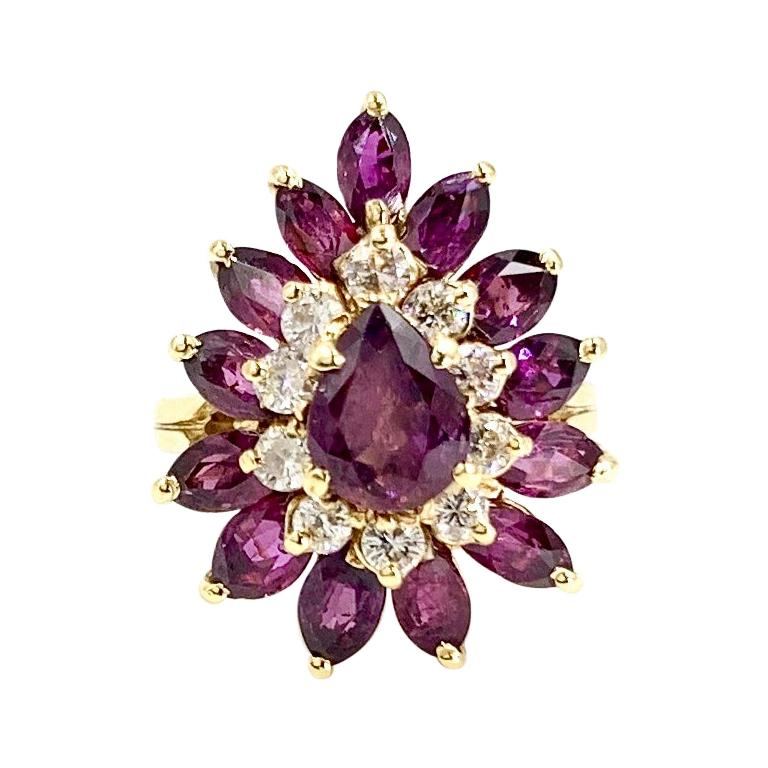 18 Karat Pear Shape Ruby and Diamond Vintage Cocktail Ring For Sale