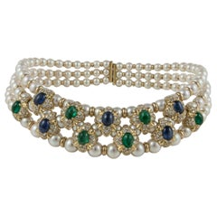 18 Karat Pearl Collar with Emeralds Sapphires Diamonds