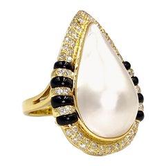18 Karat Pearl, Diamond and Black Jade Cocktail Ring