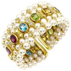 18 Karat Pearl, Diamond and Gemstone Wide Cuff Bracelet