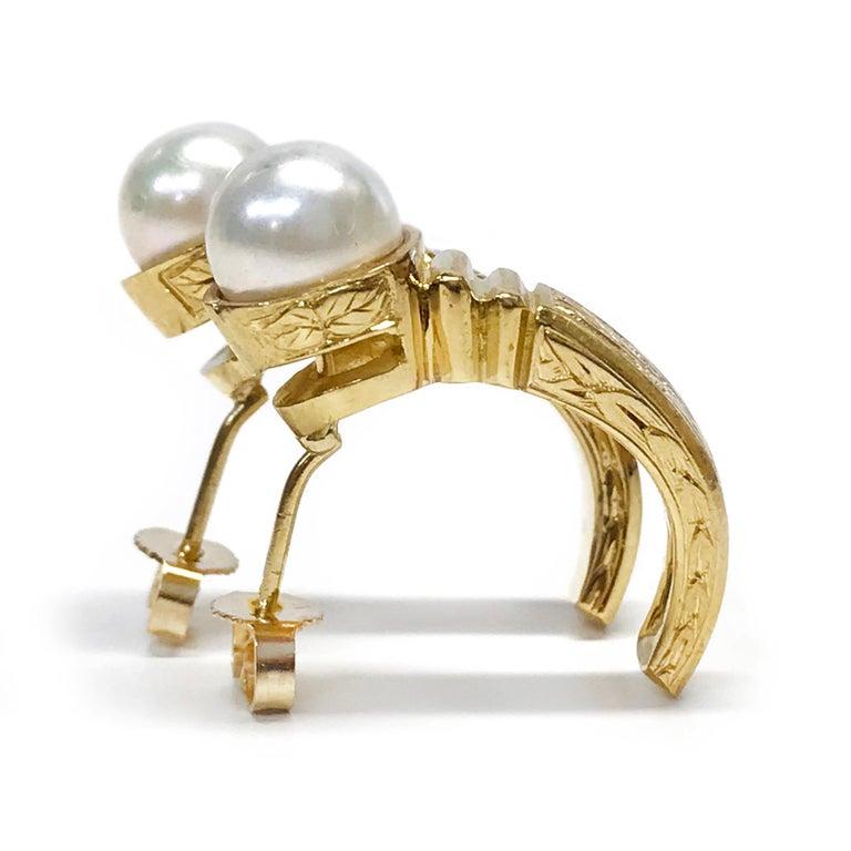 Retro 18 Karat Pearl Semi-Hoop Earrings For Sale