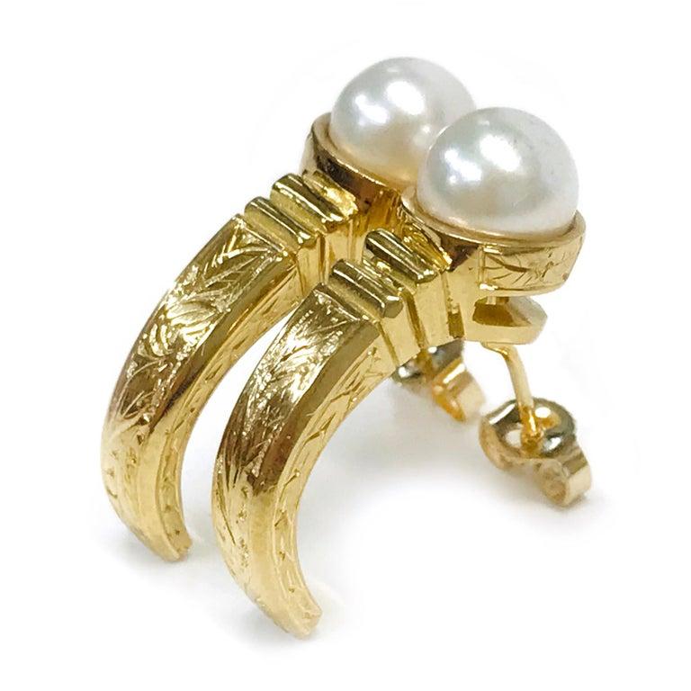 Uncut 18 Karat Pearl Semi-Hoop Earrings For Sale