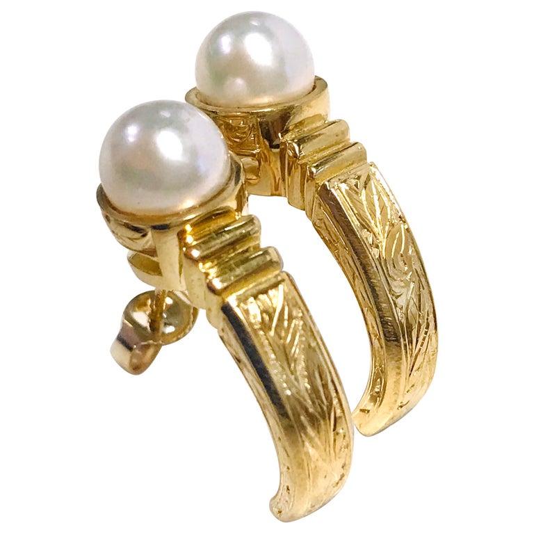 18 Karat Pearl Semi-Hoop Earrings For Sale