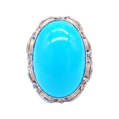 18 Karat Persian Turquoise Ring Rich Color Yellow Ornate