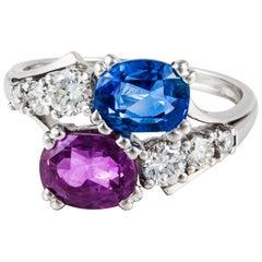 18 Karat Pink and Blue Sapphire Bypass Ring