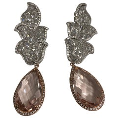 18 Karat Pink and White Gold Diamond and Morganite Statement Ear Drops