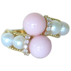 18 Karat Pink Coral Diamond Cultured Pearl Ring