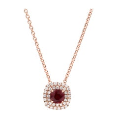 18 Karat Pink Gold 1/2 Carat Ruby Halo Diamond Necklace
