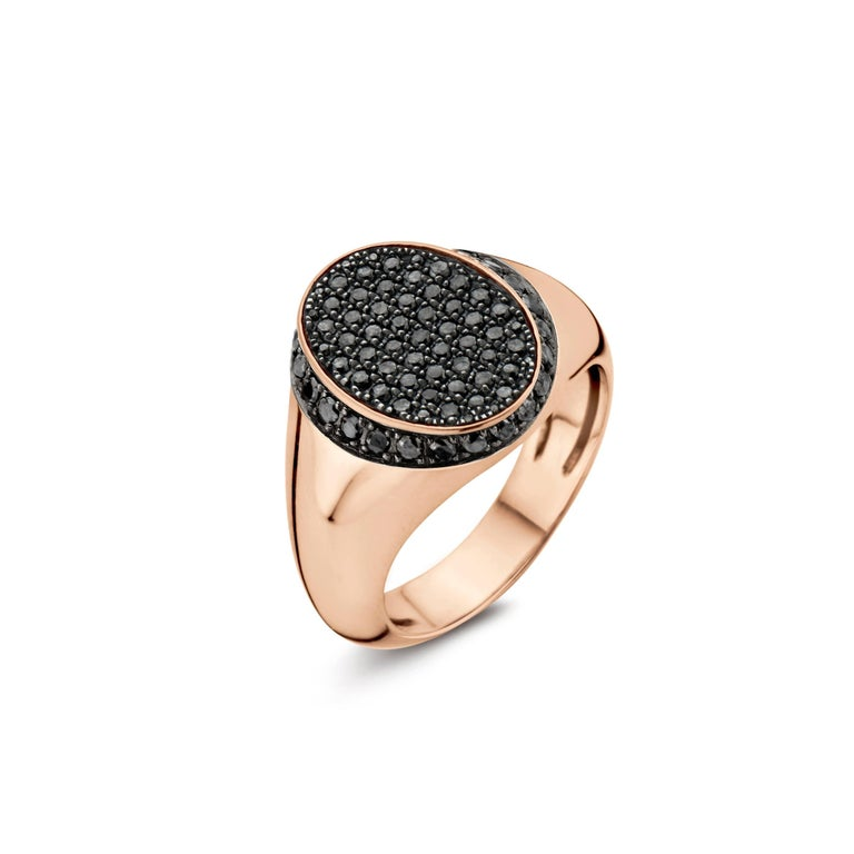 Contemporary 18 Karat Pink Gold and Black Diamond Signet Ring For Sale