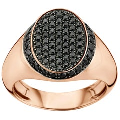 18 Karat Pink Gold and Black Diamond Signet Ring