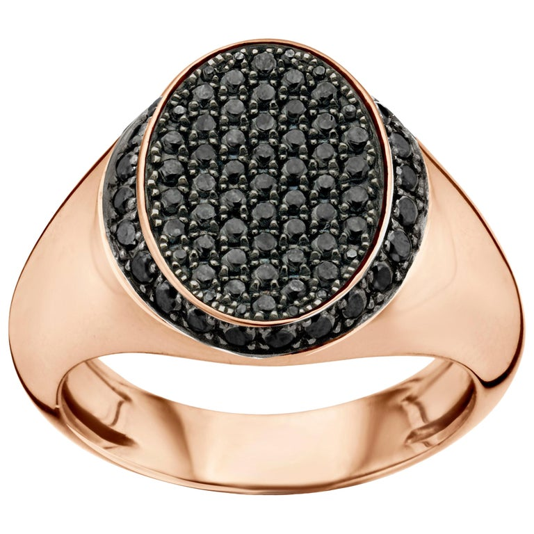 18 Karat Pink Gold and Black Diamond Signet Ring For Sale