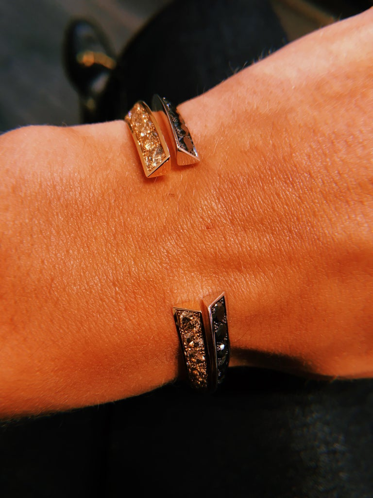 Round Cut 18 Karat Pink Gold and Brown Diamond Flow Bracelet For Sale