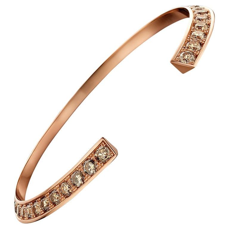18 Karat Pink Gold and Brown Diamond Flow Bracelet For Sale