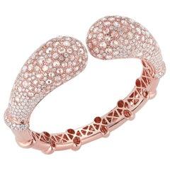 18 Karat Pink Gold and Diamond Bangle Bracelet