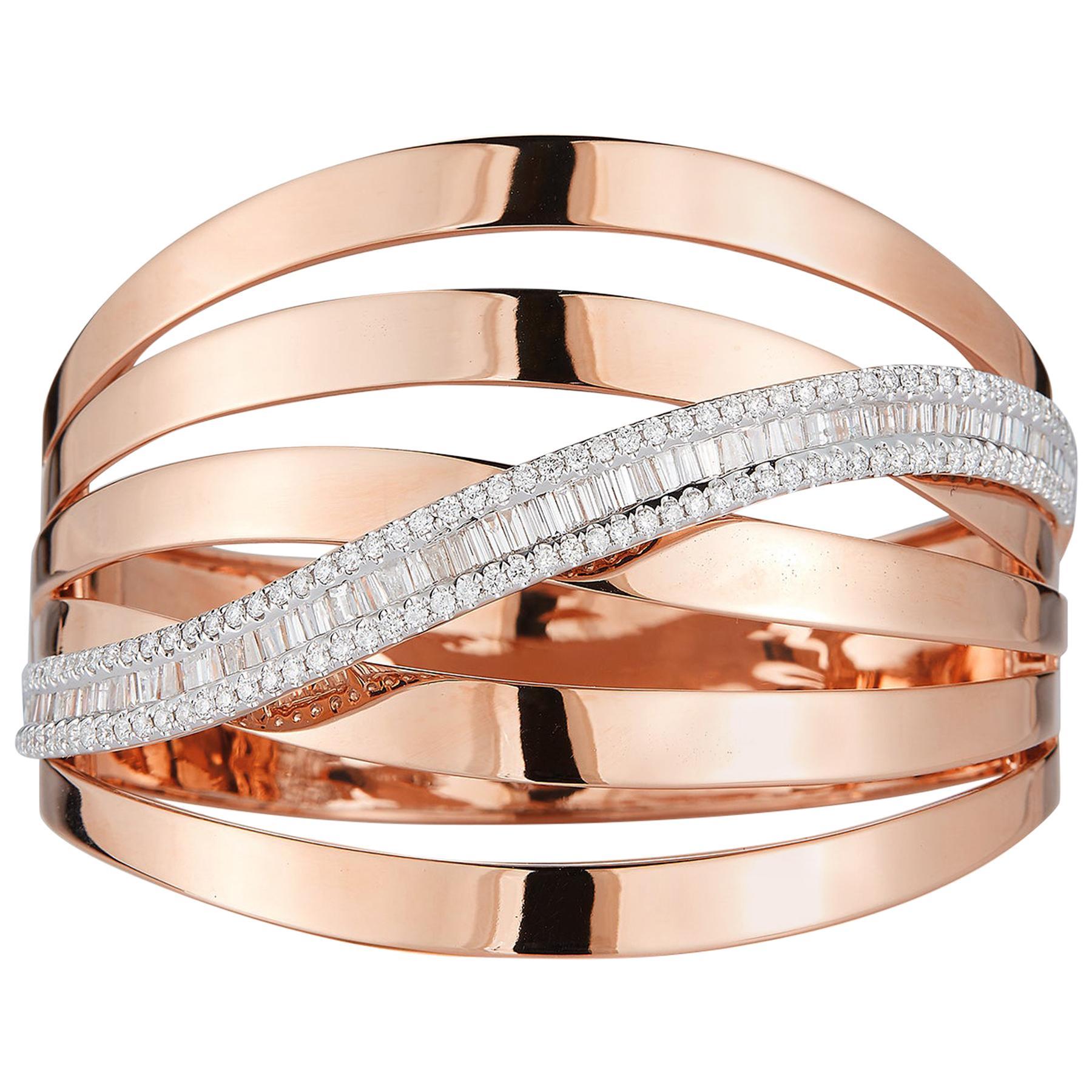 18 Karat Pink Gold and Diamond Bangle-Cuff Bracelet