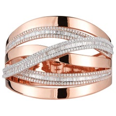 18 Karat Pink Gold and Diamond Bangle-Cuff Bracelet