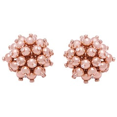 18 Karat Pink Gold Bead and Diamond Ear Clips
