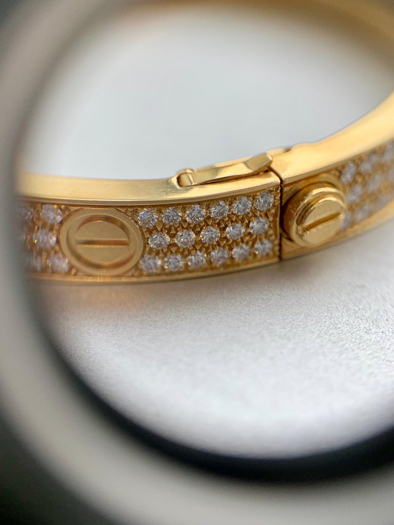 18 Karat Yellow Gold Cartier Love Bracelet with Pave Diamonds For Sale 4