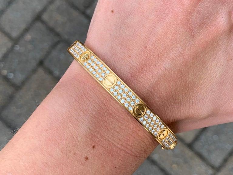 18 Karat Yellow Gold Cartier Love Bracelet with Pave Diamonds For Sale 5