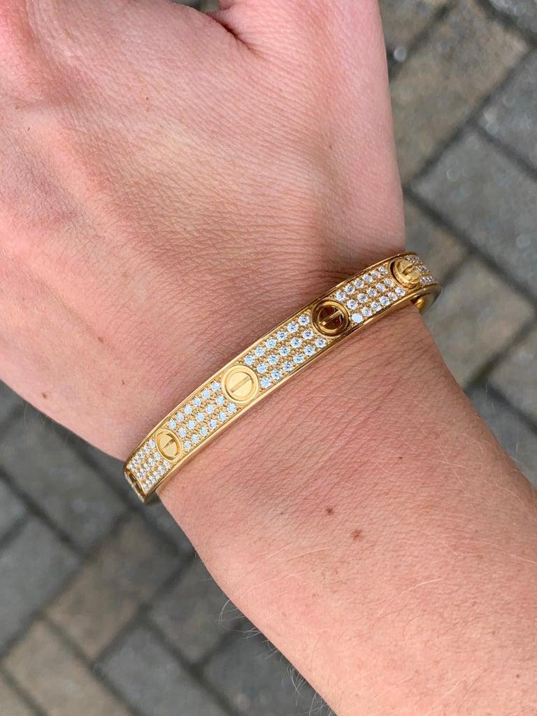 18 Karat Yellow Gold Cartier Love Bracelet with Pave Diamonds For Sale 6