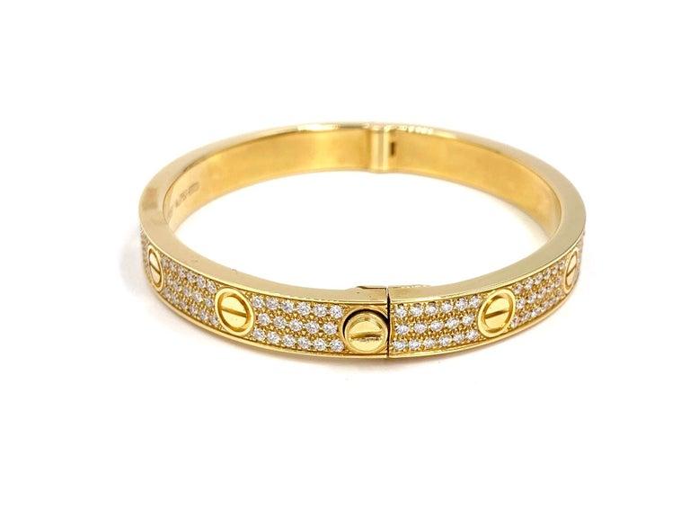 Contemporary 18 Karat Yellow Gold Cartier Love Bracelet with Pave Diamonds For Sale