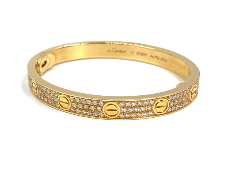 Women's 18 Karat Yellow Gold Cartier Love Bracelet with Pave Diamonds For Sale
