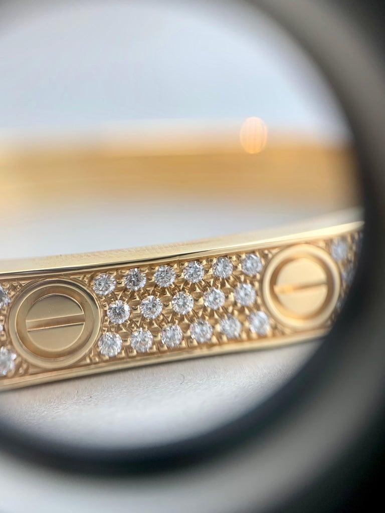 18 Karat Yellow Gold Cartier Love Bracelet with Pave Diamonds For Sale 3