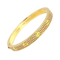 18 Karat Yellow Gold Cartier Love Bracelet with Pave Diamonds
