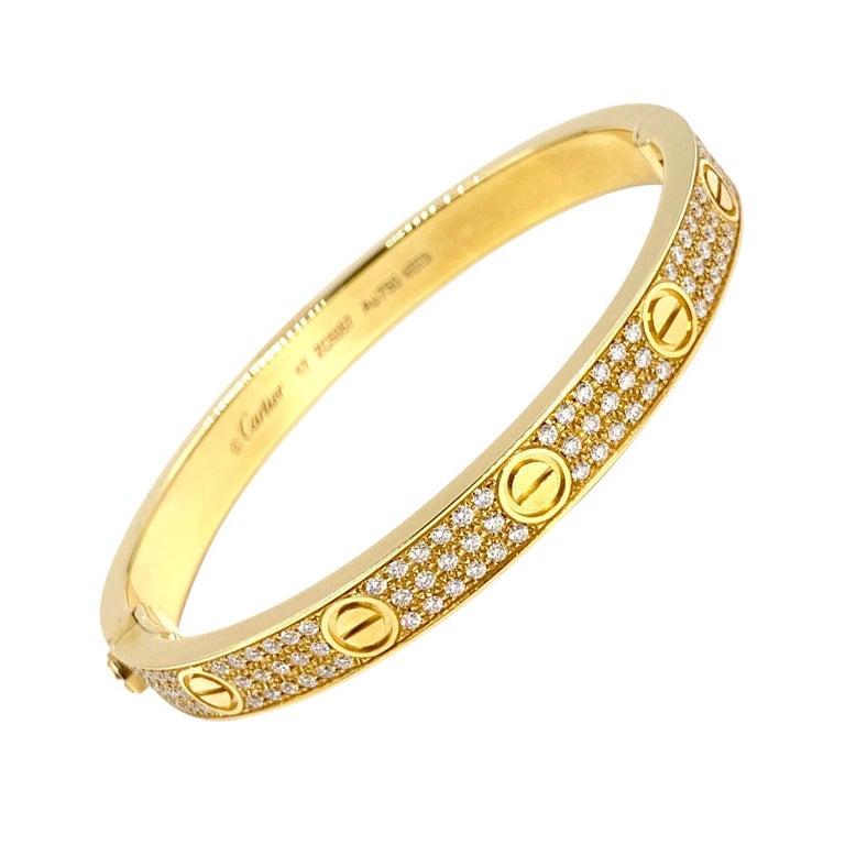 18 Karat Yellow Gold Cartier Love Bracelet with Pave Diamonds For Sale