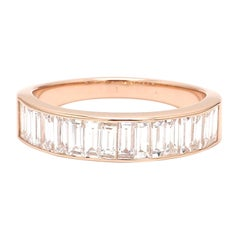 18 Karat Pink Gold Channel Set Baguette Cut Diamond Wedding Ring
