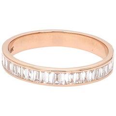 18 Karat Pink Gold Channel Set Baguette Cut Diamond Wedding Ring