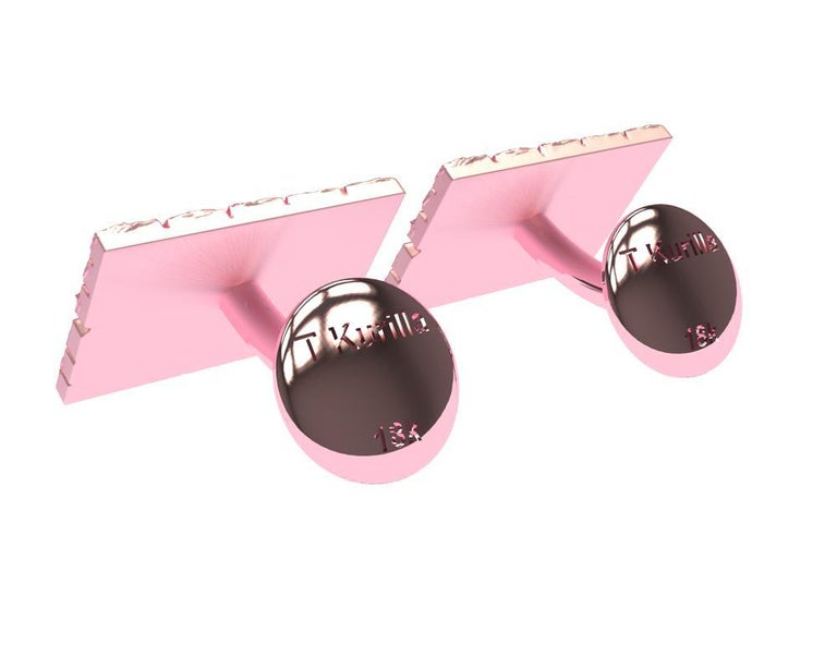 18 Karat Pink Gold Cufflinks For Sale 1