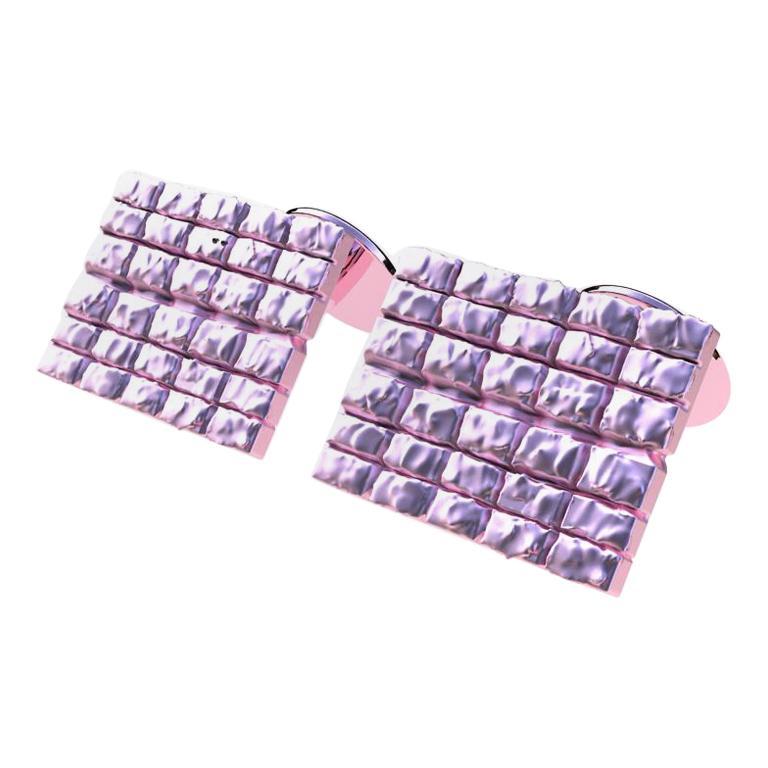 18 Karat Pink Gold Cufflinks For Sale