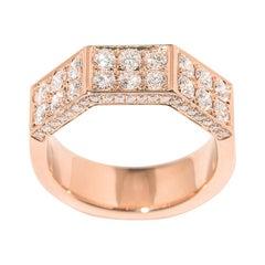 18 Karat Pink Gold Deux Double Half-Octagon Diamond Ring