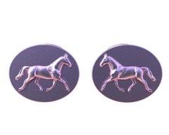 18 Karat Pink Gold Dressage Horse Cufflinks