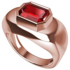 18 Karat Pink Gold Emerald Cut Ruby Sculpture Ring