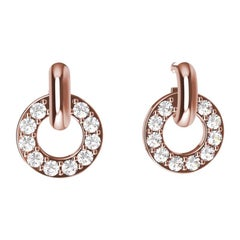 18 Karat Pink Gold GIA Diamond Hoop Dangle Earrings