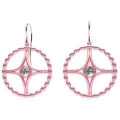18 Karat Pink Gold GIA Diamond Nautical Bead Hoop Earrings