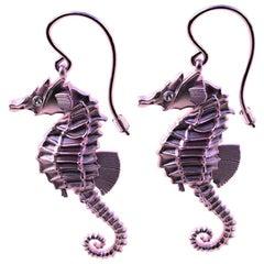 18 Karat Pink Gold GIA Diamond Sea Horse Earrings
