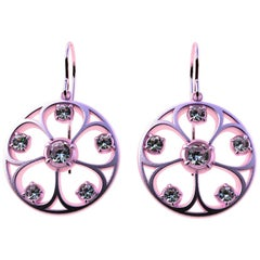 18 Karat Pink Gold GIA Diamonds 5 Petal Flower Earrings
