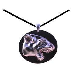 18 Karat Pink Gold Growler Panther Pendant Necklace