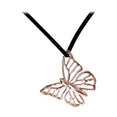 18 Karat Pink Gold Monarch Butterfly Pendant Necklace