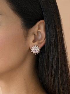 18 Karat Pink Gold Morganite Diamond Cluster Earrings