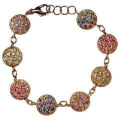 18 Karat Gold Multi-Color Sapphires Italian Bracelet