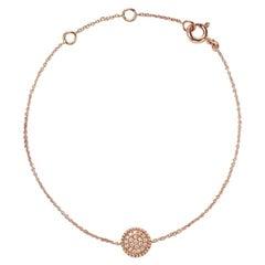 18 Karat Pink Gold Mye Round Beading Pave Diamond Bracelet