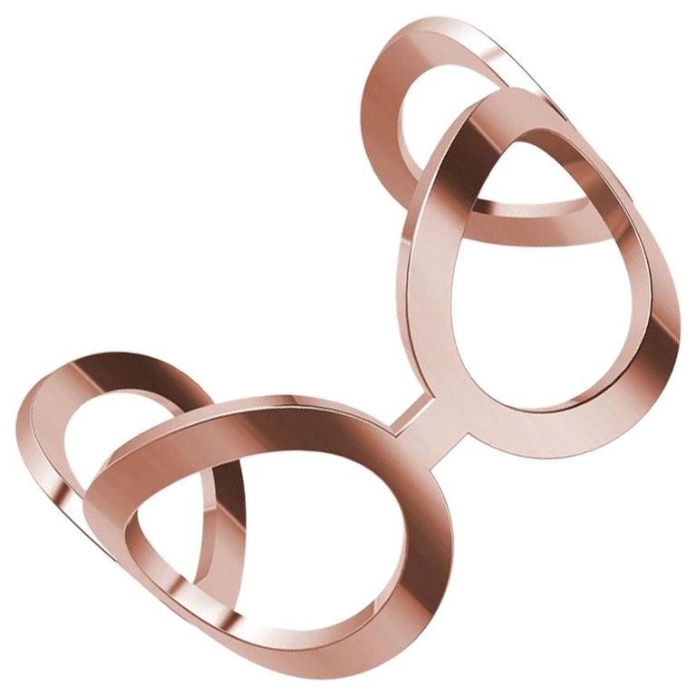18 Karat Pink Gold Oval Cuff Bracelet For Sale