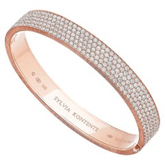 18 Karat Pink Gold Pave Set Diamond Bracelet, M8P