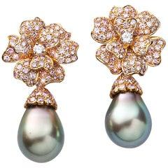 18 Karat Pink Gold Pink Diamond and Black Pearl Flower Earclips