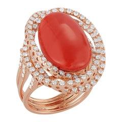 18 Karat Pink Gold Ring 15 Carat Coral Center Stone with 120 Diamonds