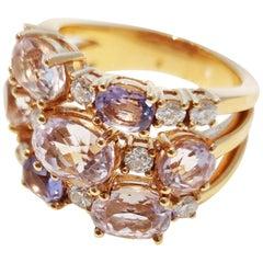 18 Karat Pink Gold Ring with Amethyst, Kunzite and Diamonds